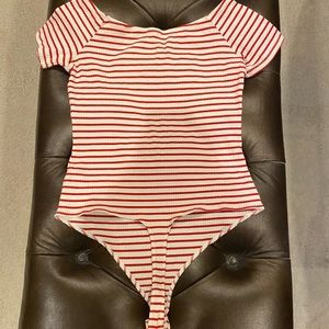 NWOT ASOS Red and White Stripped Body Suit T-Shirt